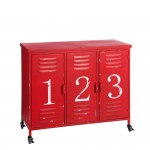 Red cabinet with 3 doors