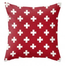 Red Pillow with Crosses